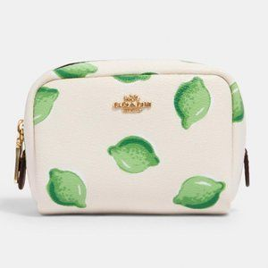 Coach Mini Boxy Cosmetic Case With Lime Print